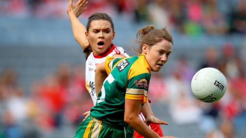 Tyrone defender Caolieann Conway in action against Fiona O'Neill of Meath