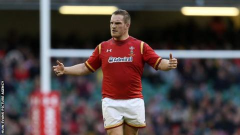 Gethin Jenkins looks on with frustration during Wales' autumn International against Australia