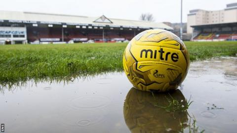 Firhill's waterlogged pitch