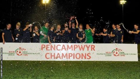 Cardiff Met players celebrate last season's Welsh Premier Women's League win