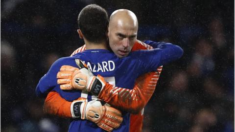 Eden Hazard and Willy Caballero