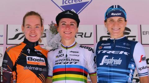 Anna van der Breggen, Annemiek van Vleuten and Elisa Longo Borghini after stage six of the 2019 Giro Rosa