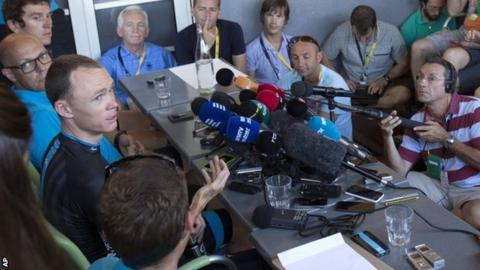 Chris Froome and Sir Dave Brailsford talk to journalists on the Tour de France rest day