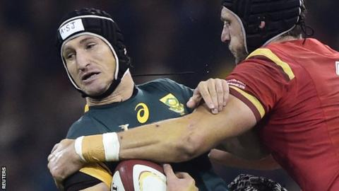 Johan Goosen playing for South Africa