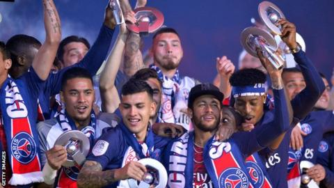 PSG celebrate winning the Ligue 1 title
