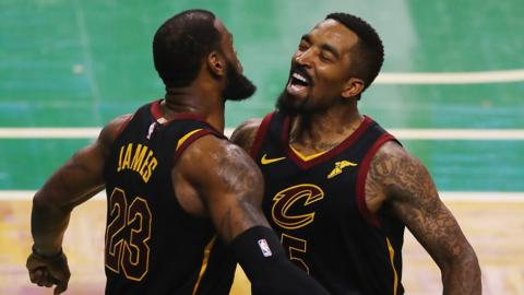 LeBron James and JR Smith celebrate