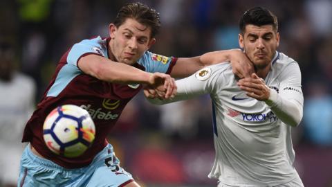 Burnley's James Tarkowski and Chelsea's Alvaro Morata