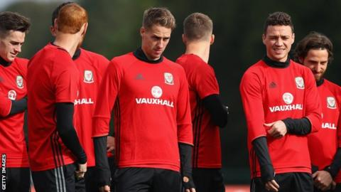 Wales players in training