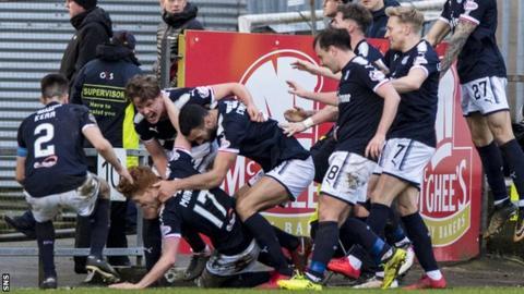 Dundee's Simon Murray celebrates scoring against Partick Thistle