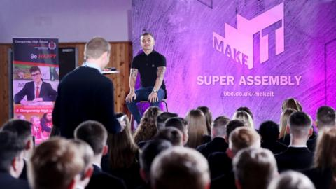 BBC Sport NI's Thomas Kane hosted the event and questioned the boxer on a range of subjects