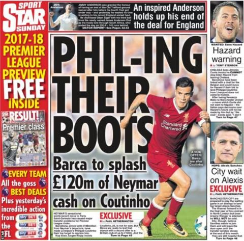 The Star say Neymar's record-move to Paris St-Germain is causing problems for Premier League clubs