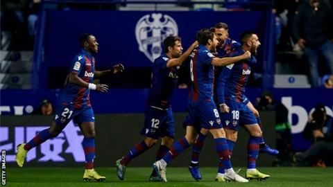 Levante players celebrate their opening goal