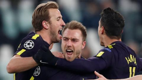 Christian Eriksen celebrates scoring for Tottenham against Juventus