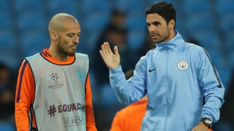 Mikel Arteta and David Silva