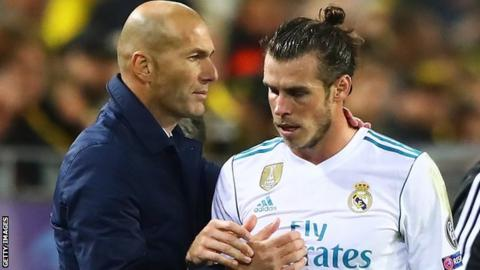 Real Madrid manager Zinedine Zidane and Gareth Bale