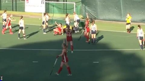 Izzy Webb celebrates her winning goal for Wales against France