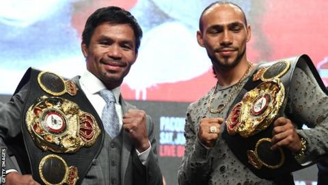 Manny Pacquiao and Thurman fight at the MGM Grand in Las Vegas on Saturday