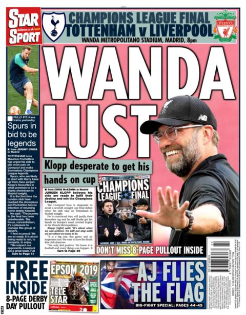 Saturday's Star back page reads: 'Wanda Lust'