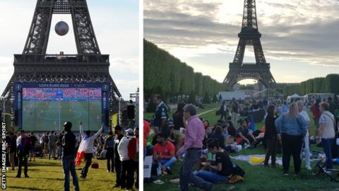 Fans in front of the Eiffel Tower at Euro 16 and at the Women's World Cup