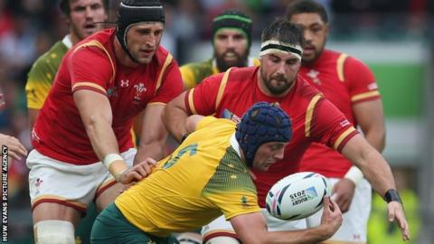 Wales in action against Australia at the 2015 Rugby World Cup