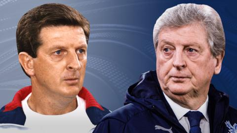 An image of Roy Hodgson at the start of his managerial career, and a more recent one of him as Crystal Palace boss