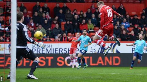 Simon Church scores for Aberdeen against Hamilton Academical