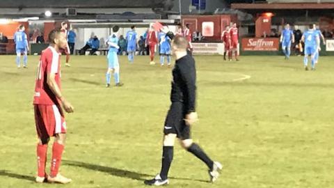 Hemel Hempstead forward Sanchez Watt is shown a red card