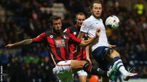 Stevie May playing for Preston North End against Bournemouth