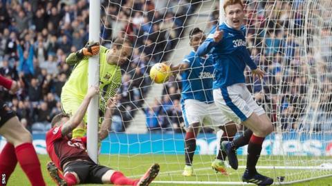Rangers' David Bates scores the winner against Kilmarnock
