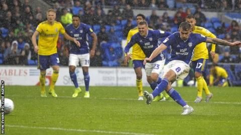 Joe Ralls scores from the spot for Cardiff