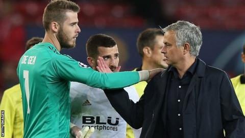 David de Gea and Jose Mourinho