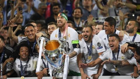 Sergio Ramos with the Champions League trophy