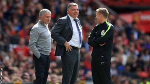 Sam Allardyce on the touchline alongside Manchester United's Jose Mourinho