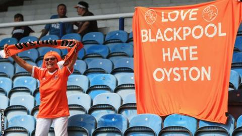 Blackpool fans protest against the Oyston family