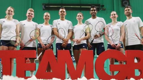 The eight members of Great Britain's badminton team