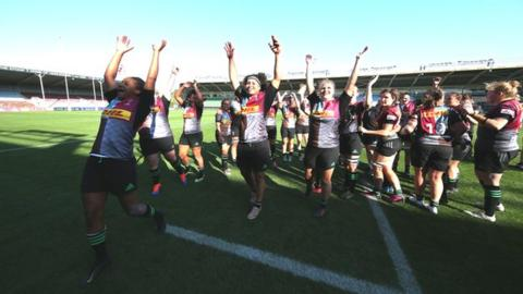 Harlequins celebrate their win over Richmond at The Stoop