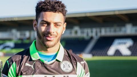 Kaiyne Woolery in Forest Green Rovers colours for the first time