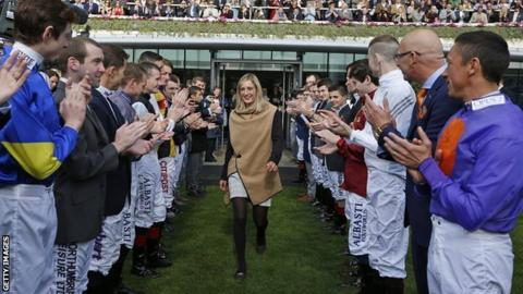 Josephine Gordon is given a guard of honour by jockeys at Ascot