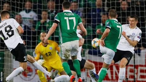 Niall McGinn fires home Northern Ireland's opener in the victory over Estonia in Belfast