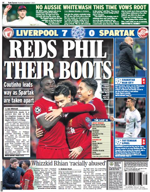 The Express focuses on Liverpool's Champions League thrashing of Spartak Moscow