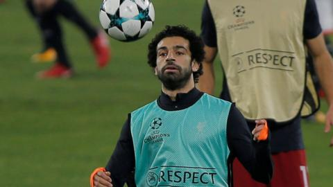 Mohamed Salah during the warm up