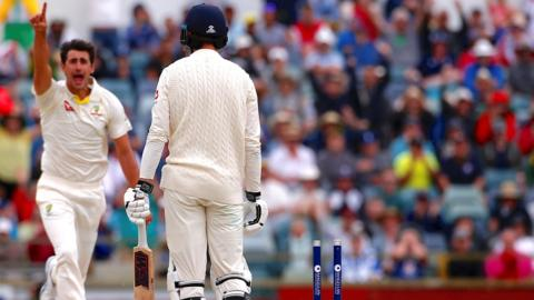 James Vince walks off after being bowled by Mitchell Starc