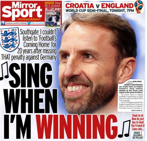 The Mirror leads on Gareth Southgate not being able to listen to 'Three Lions' after his Euro '96 penalty miss