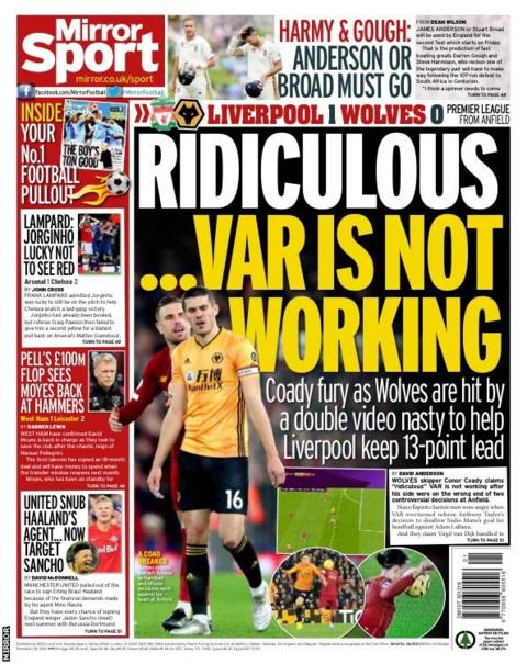 The back page of Monday's Mirror