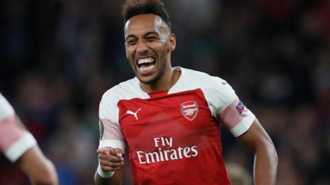 Pierre-Emerick Aubameyang celebrates his second goal