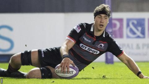 Edinburgh back-row Jamie Ritchie scores a try in the 78-0 win over Krasny Yar