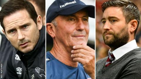 Frank Lampard (left), Tony Pulis (centre) and Lee Johnson (right)