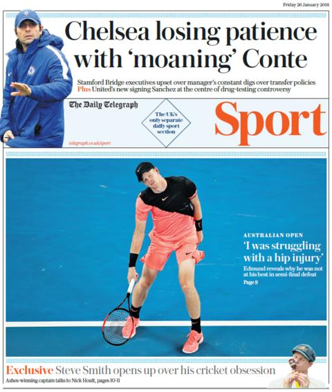 Daily Telegraph's sport section on Friday