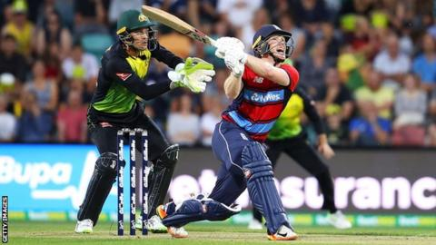 England captain Eoin Morgan skies a shot before he is caught during defeat by Australia