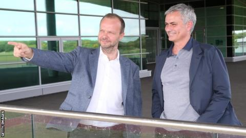 Manchester United executive vice-chairman Ed Woodward (left) and manager Jose Mourinho